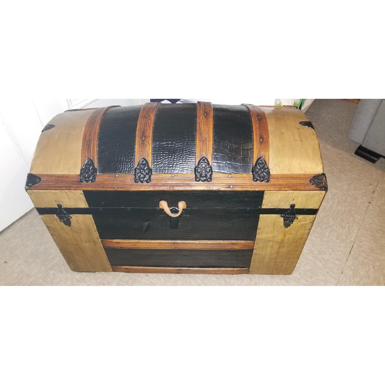 Round Top Antique Storage Trunk-0