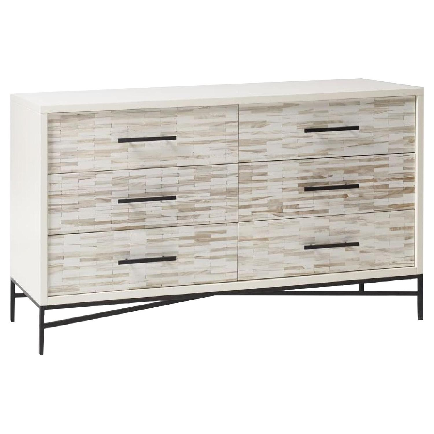 West Elm Wood Tiled 6 Drawer Dresser