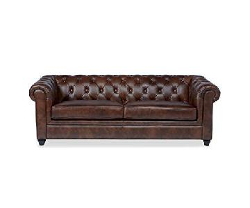 Abbyson Living Furniture Tufted Leather Chesterfield Sofa