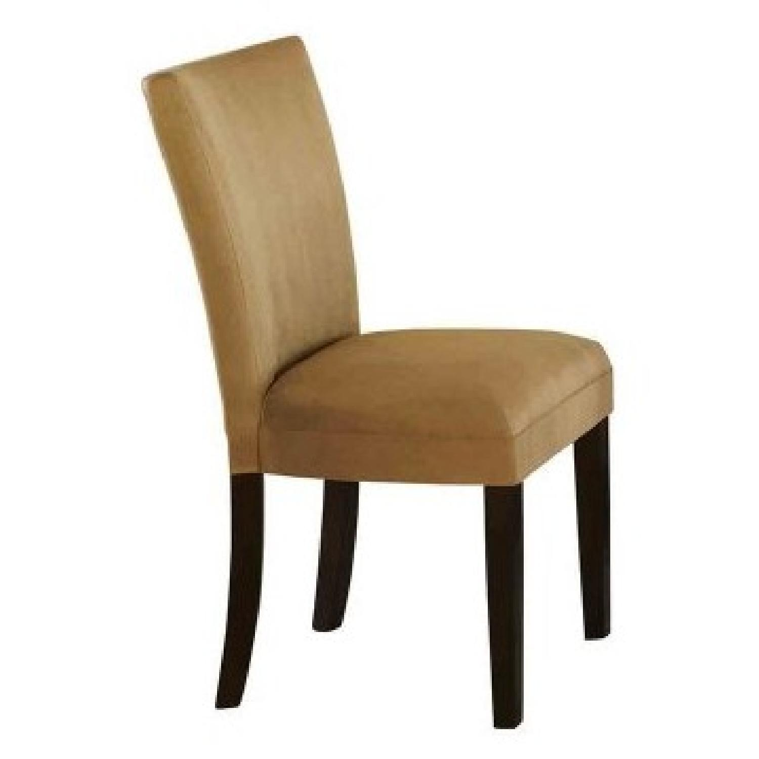 Dining Chair in Gold Ocre Microfiber Cushioned Upholstery