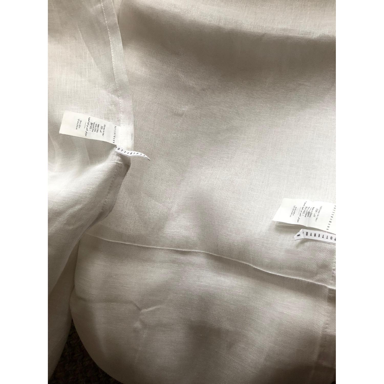 Pottery Barn Belgian Flax White Linen Poletop Sheer Drapes-2