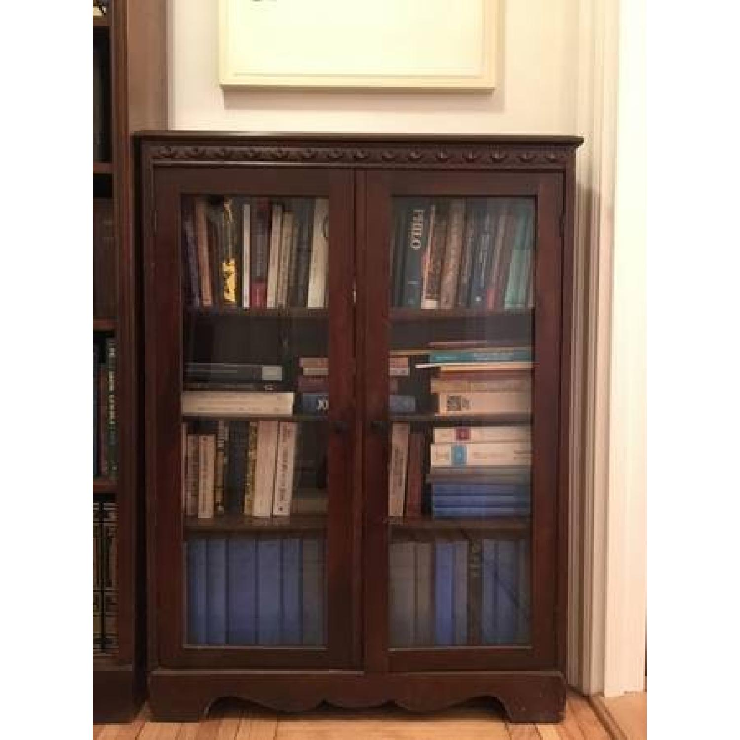 Vintage Mahogany Bookcase w/ Glass Doors-0
