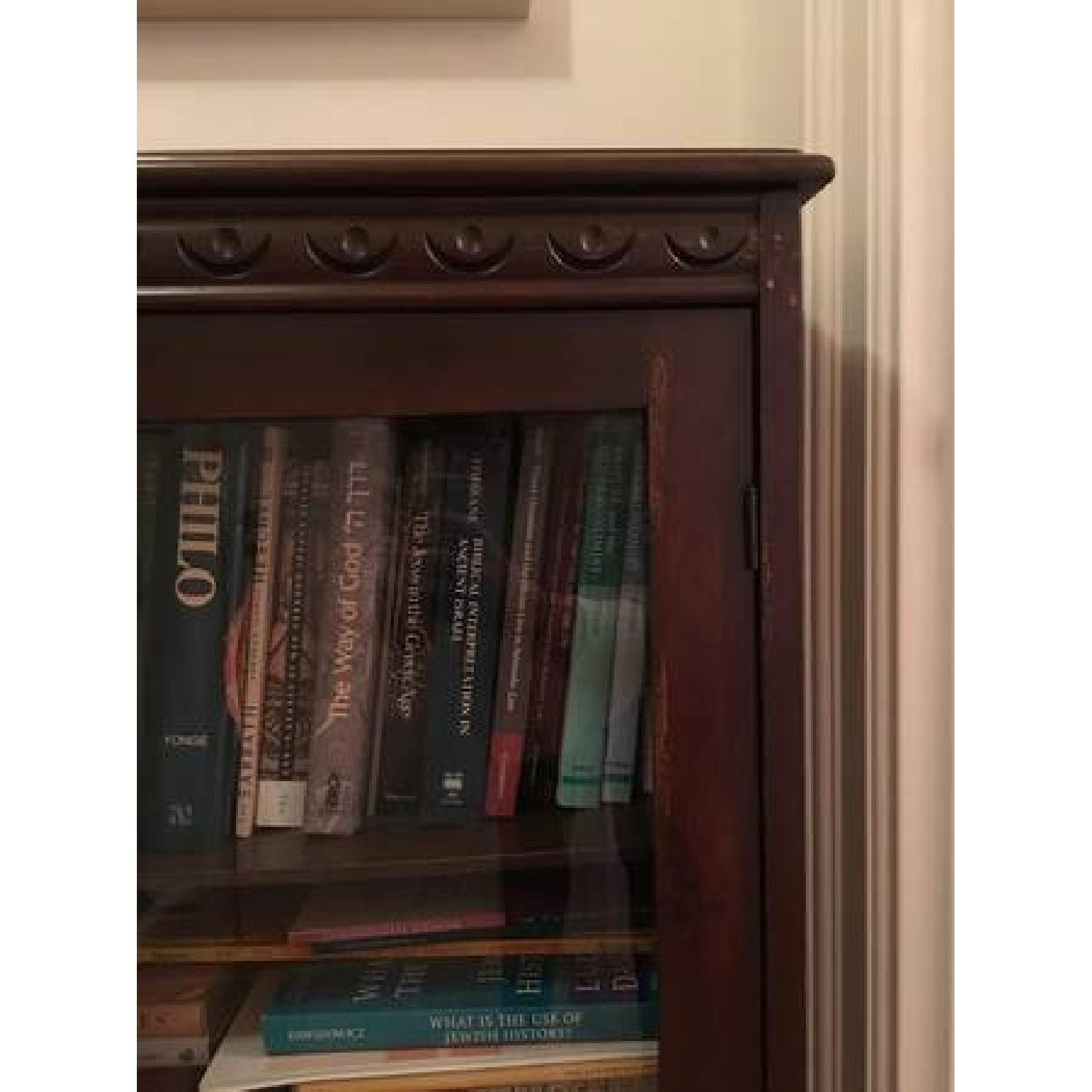Vintage Mahogany Bookcase w/ Glass Doors-1