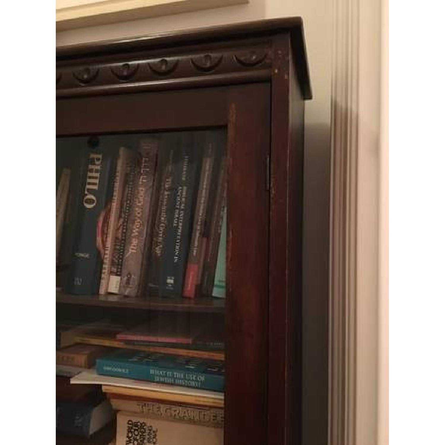 Vintage Mahogany Bookcase w/ Glass Doors-2