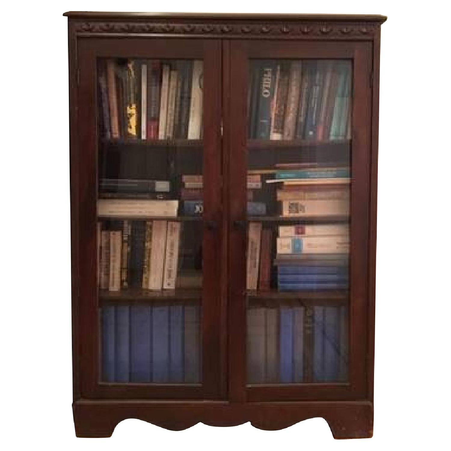 Vintage Mahogany Bookcase w/ Glass Doors