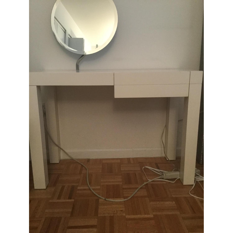 CB2 White Lacquer Desk/Vanity-0