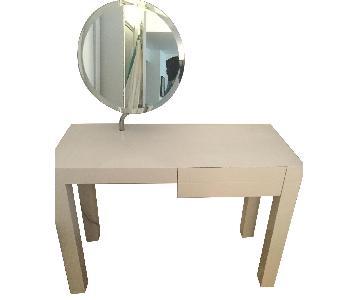 CB2 White Lacquer Desk/Vanity