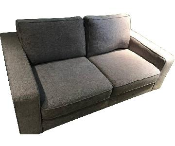 Grey Fabric Loveseat + Chair