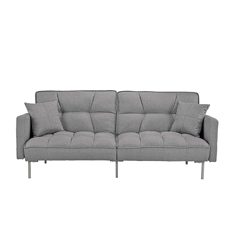 Divano Roma Furniture Modern Tufted Linen Splitback Futon