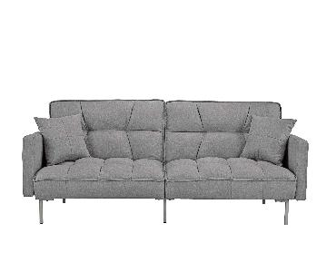 Divano Roma Furniture Modern Tufted Linen Splitback Futon