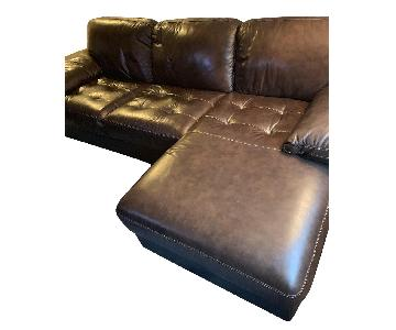 Bob's Brown Leather 2 Piece Left Arm Facing Sectional Sofa