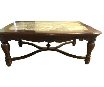 Ashley Wood & Marble Coffee Table + 2 End Tables