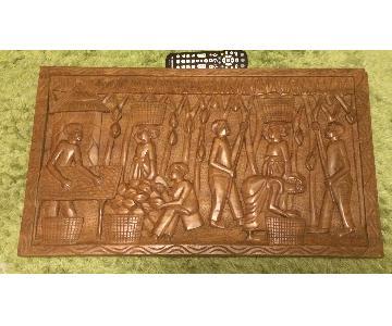 Hand Carved Ghanian Village Scene