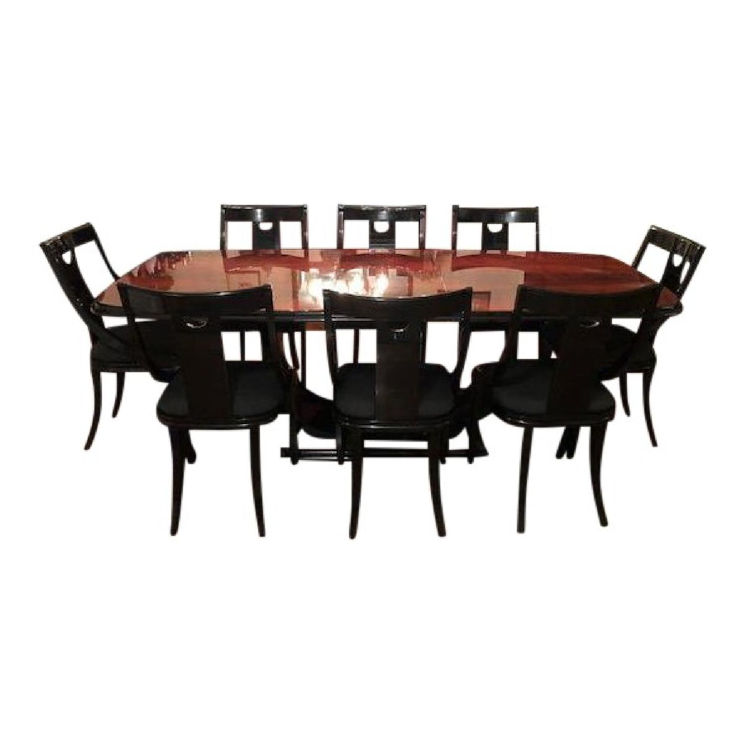 Art Deco Burlwood Dining Table w/ 8 Chairs