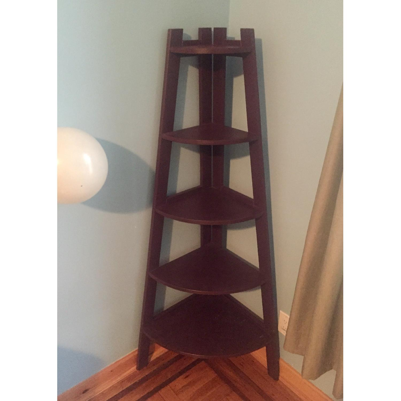 Gothic Cabinet Craft Dark Plum Corner Bookcase-0