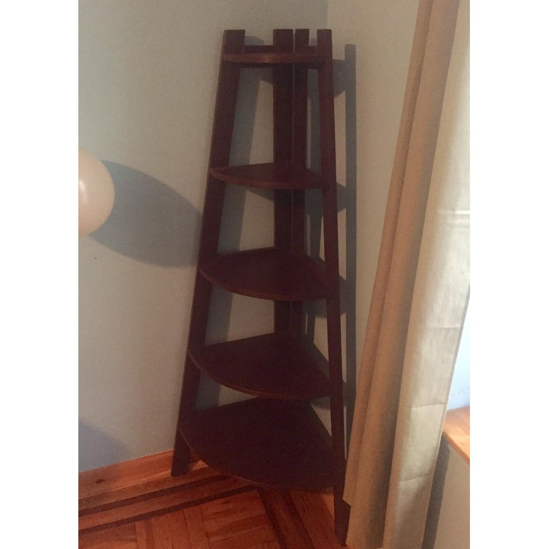Gothic Cabinet Craft Dark Plum Corner Bookcase-1