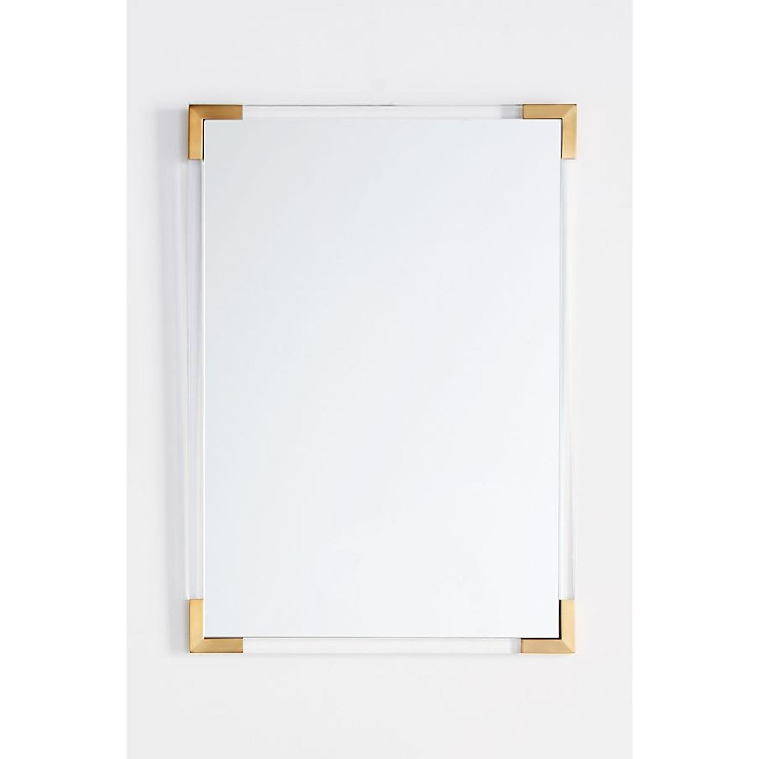 Anthropologie Brass Capped Wall Mirror-0