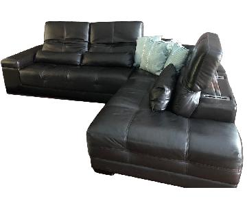 Brown Leather 3-Piece Sectional Sofa