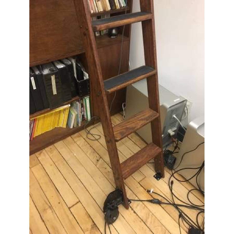 Vintage Putnam Steel & Oak Rolling Ladder-1