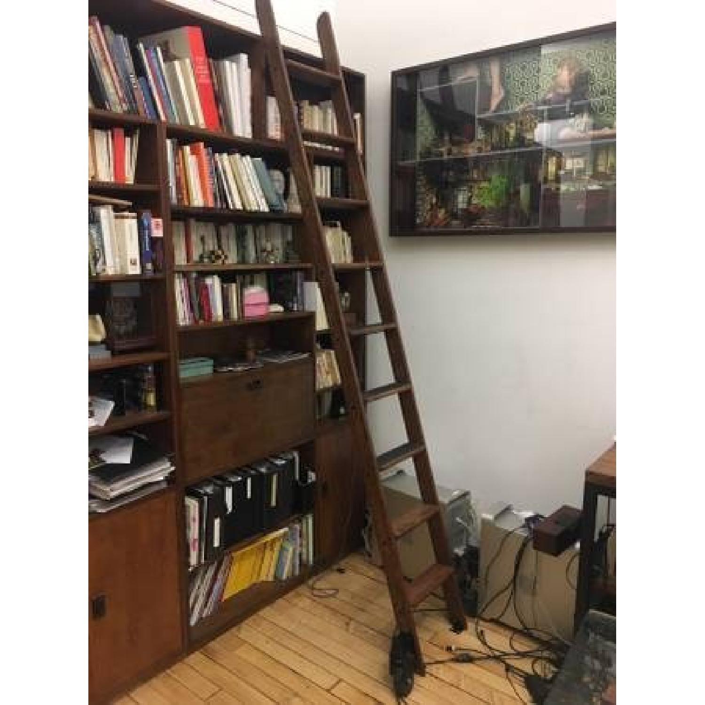 Vintage Putnam Steel & Oak Rolling Ladder-3