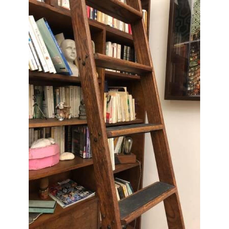 Vintage Putnam Steel & Oak Rolling Ladder-5
