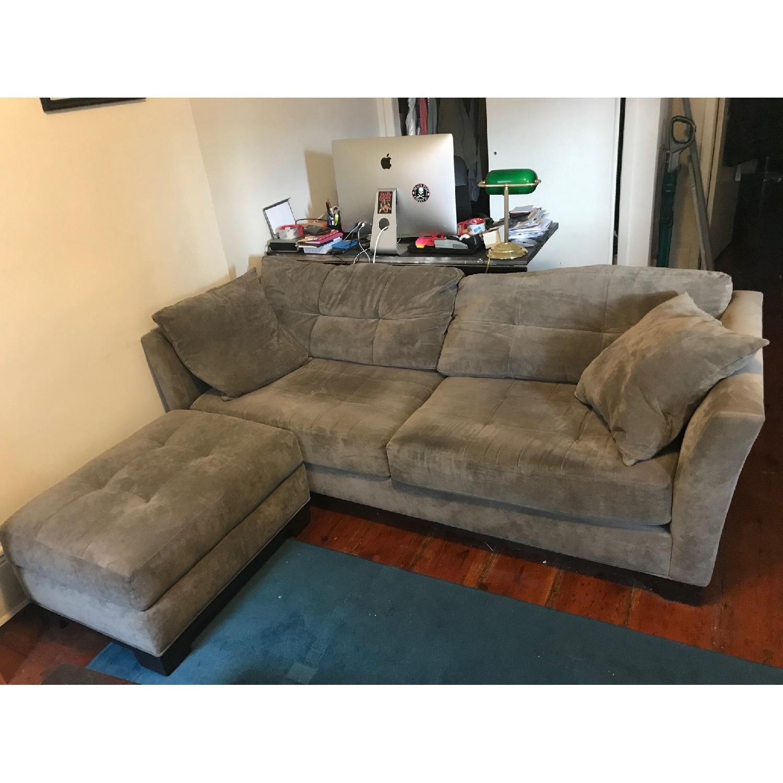 Macy's Michelle Fabric Sofa & Ottoman in Dark Grey-0