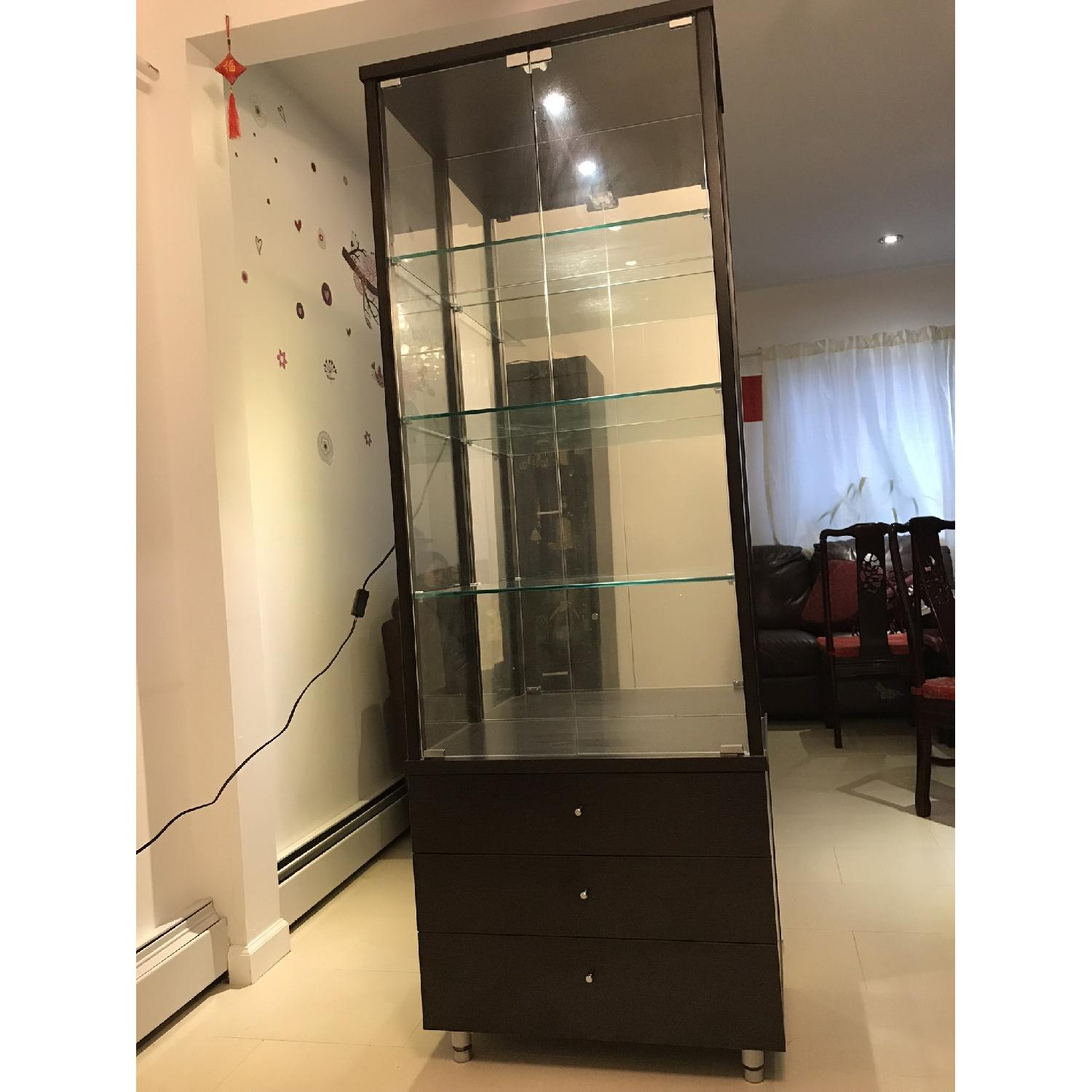 Brown 2 Glass Door Cabinet w/ 3 Glass Shelves & 3 Drawers
