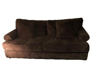 Raymour & Flanigan Brown Microsuede Sofa