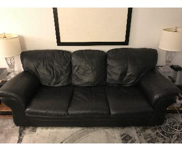 Bloomingdale's Black Leather Sleeper Sofa