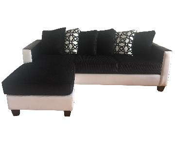 Delta Furniture Dempsey Black &White Sectional Sofa