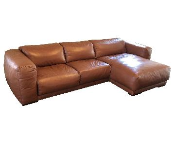 American Leather Malibu Brown Leather Sectional Sofa
