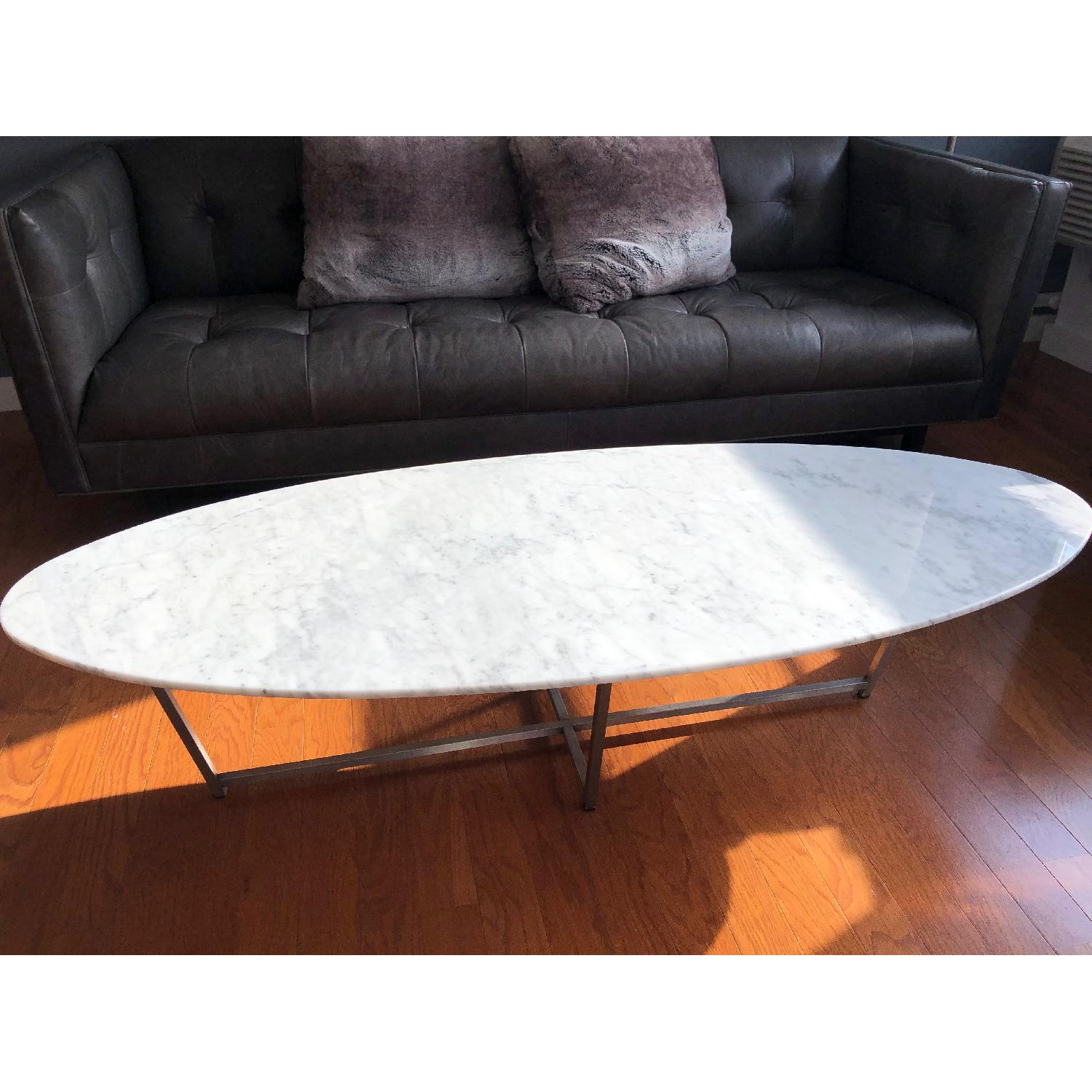 Room & Board Oval Coffee Table in Stainless/Venatian Marble-0