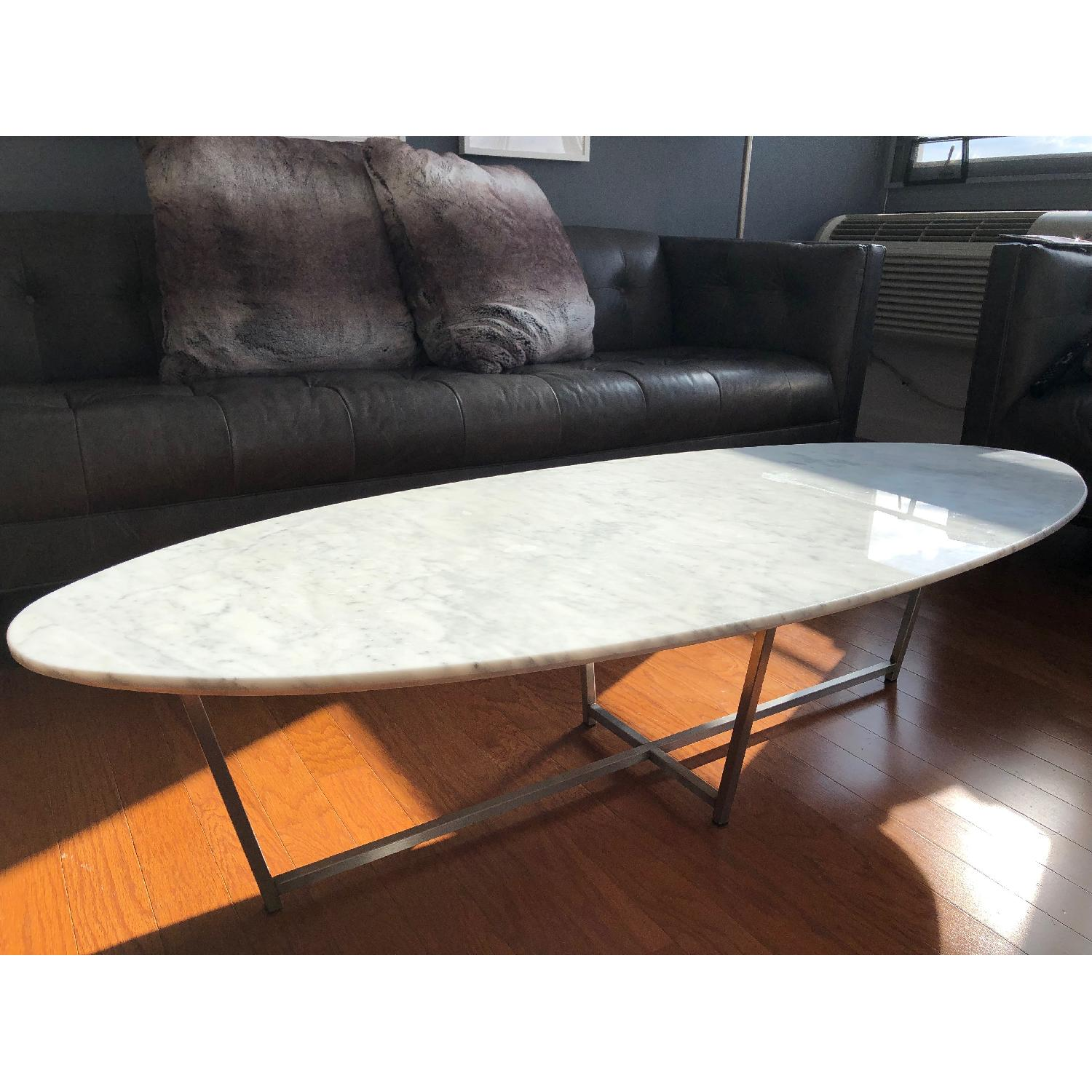 Room & Board Oval Coffee Table in Stainless/Venatian Marble-1