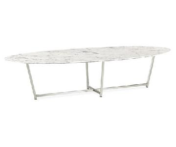 Room & Board Oval Coffee Table in Stainless/Venatian Marble