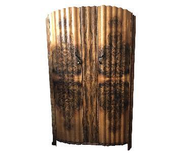 Antique Art Deco Burl Wood Armoire