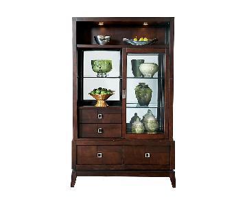 Raymour & Flanigan Spiga Espresso Dark Brown China Cabinet