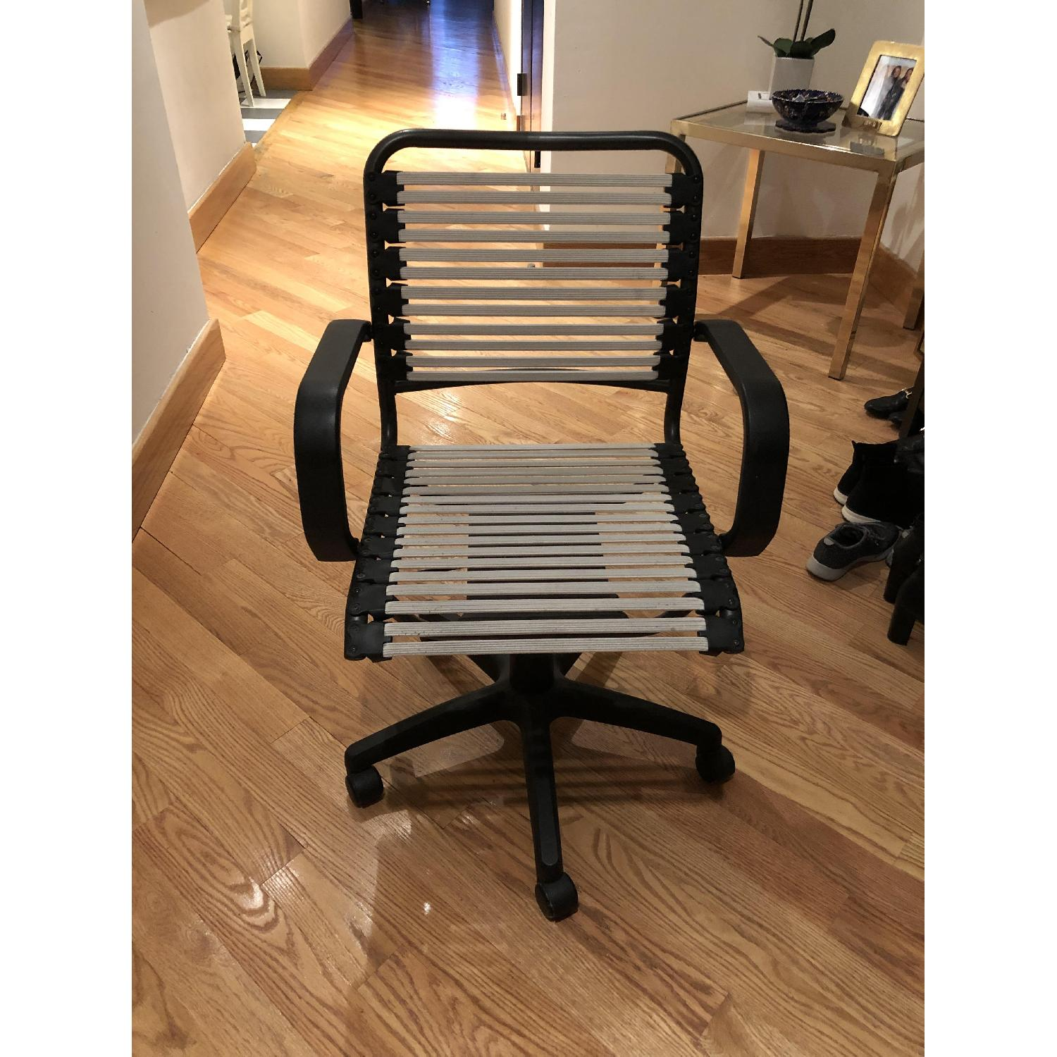 Container Store White Flat Bungee Office Chair w/ Arms-3
