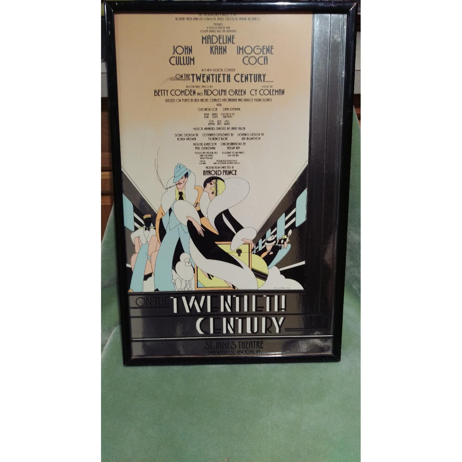 Framed 1970s On The Twentieth Century Broadway Play Sign-7