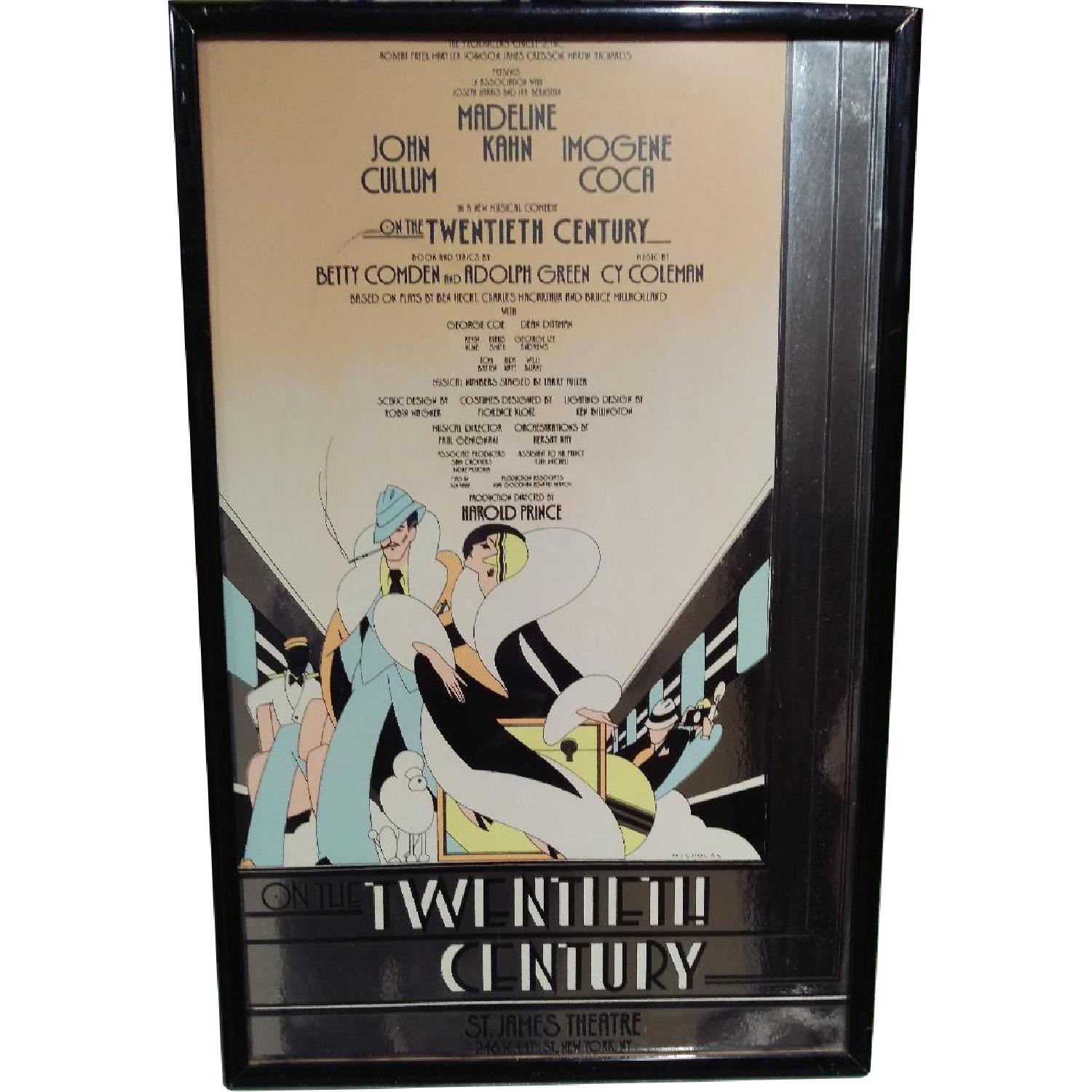 Framed 1970s On The Twentieth Century Broadway Play Sign