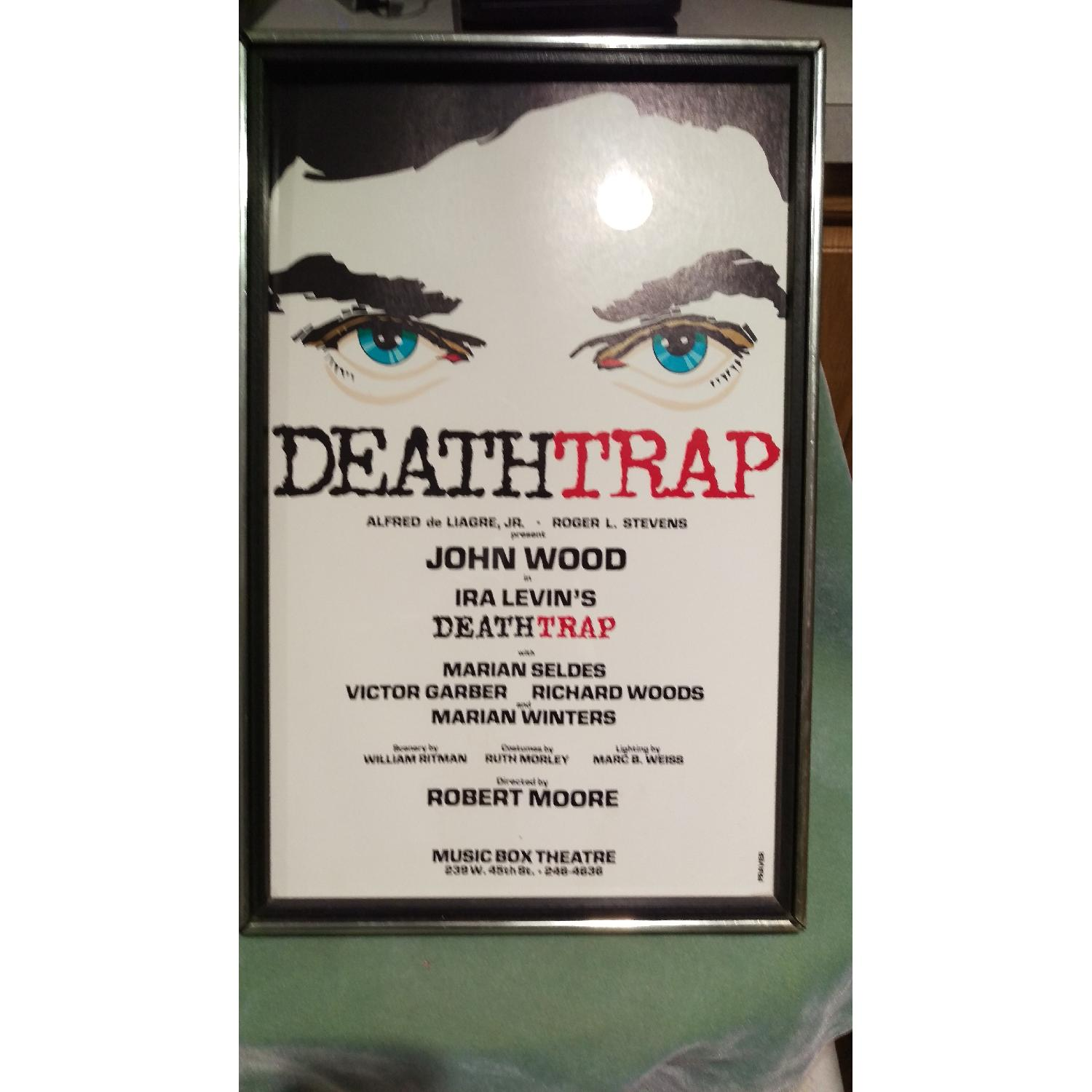 Death Trap Broadway Play Sign - 1970s Framed-3