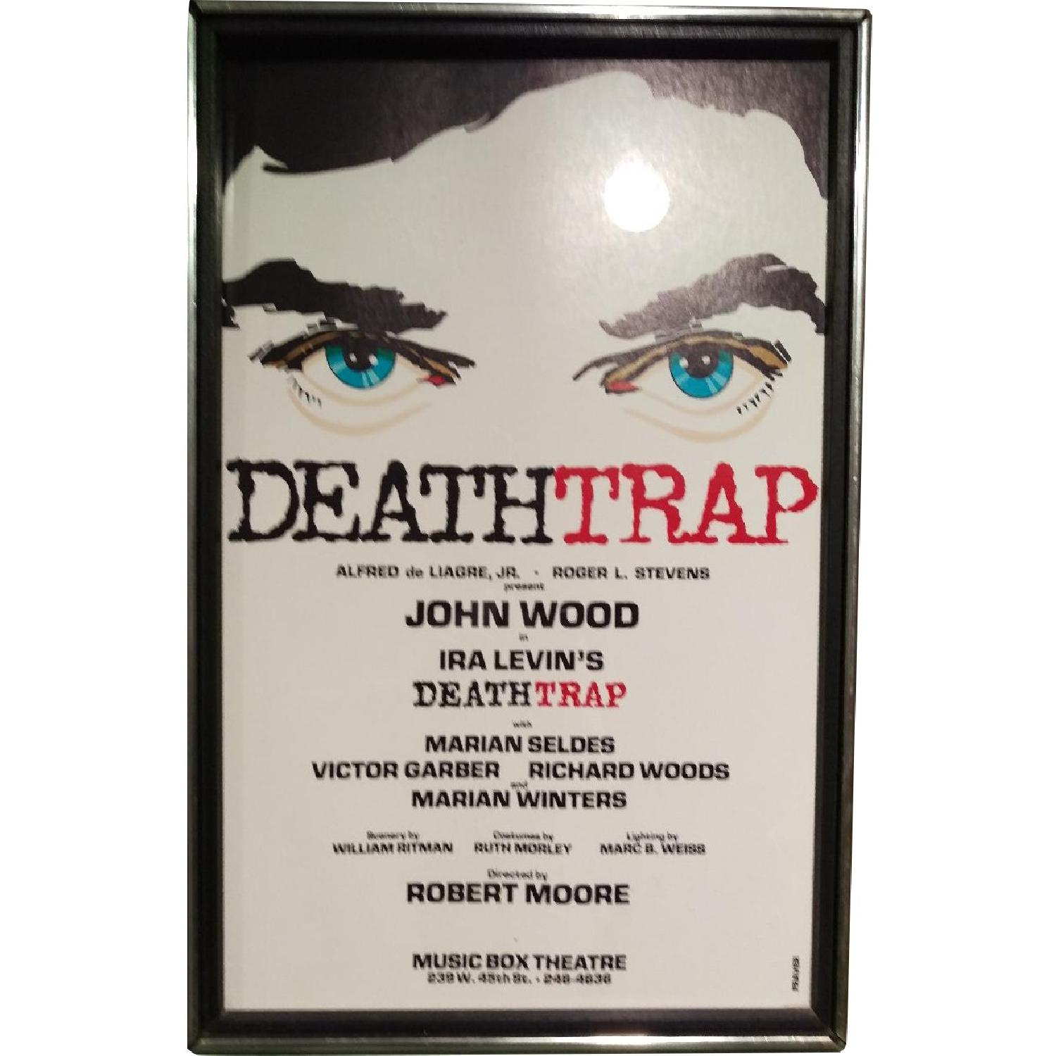 Death Trap Broadway Play Sign - 1970s Framed