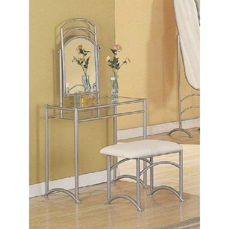 Coaster Glossy Silver Finish Metal Vanity Set-3