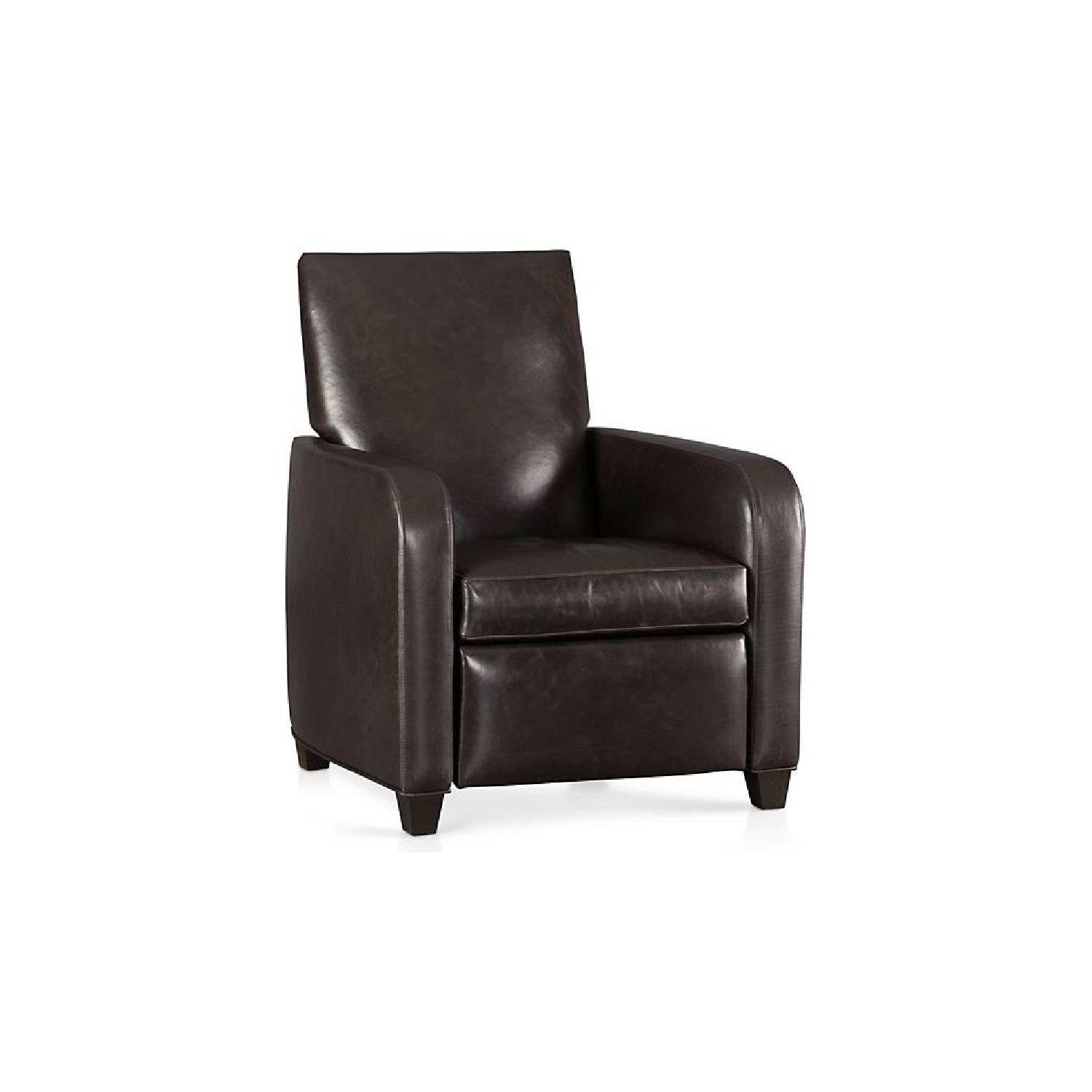 Crate & Barrel Brown Leather Recliner