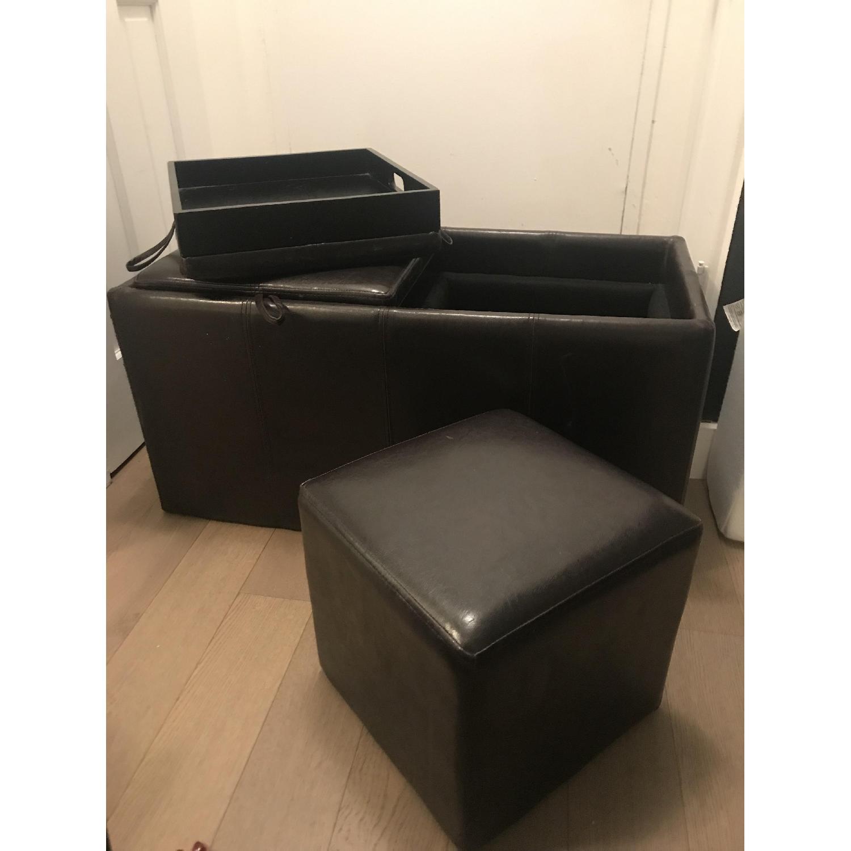 Black Faux Leather Storage Ottoman-0