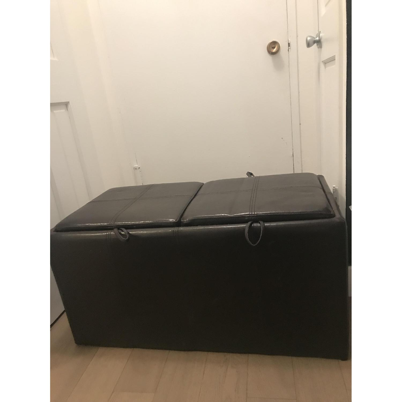 Black Faux Leather Storage Ottoman-4