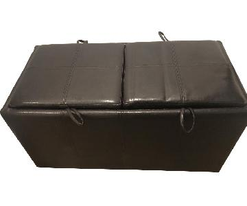 Black Faux Leather Storage Ottoman
