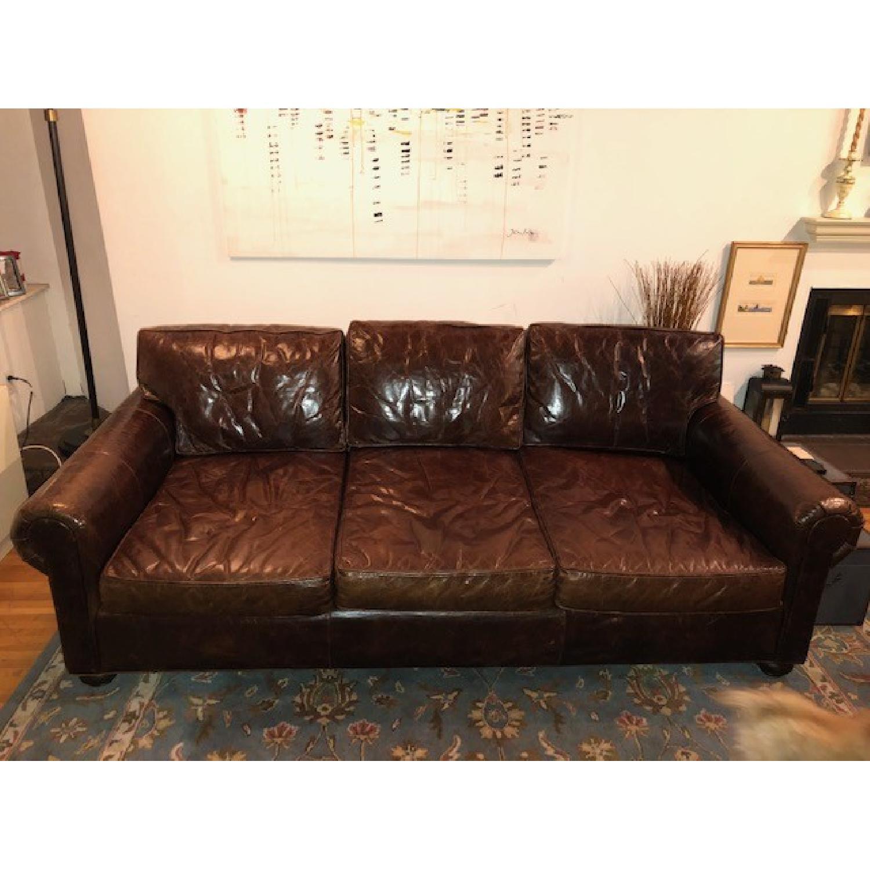 Restoration Hardware Lancaster Leather Sleeper Sofa-0