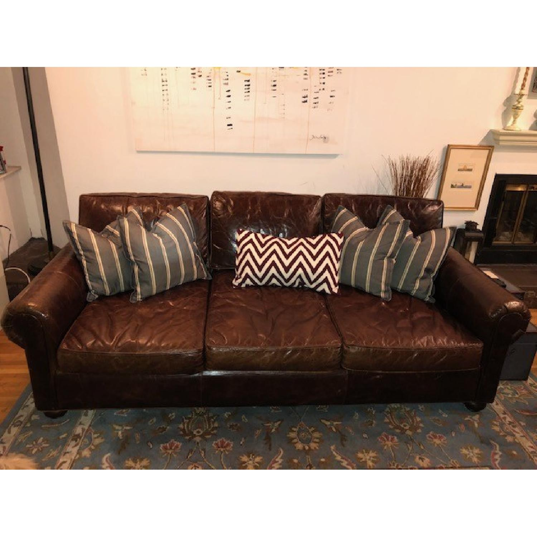 Restoration Hardware Lancaster Leather Sleeper Sofa-1