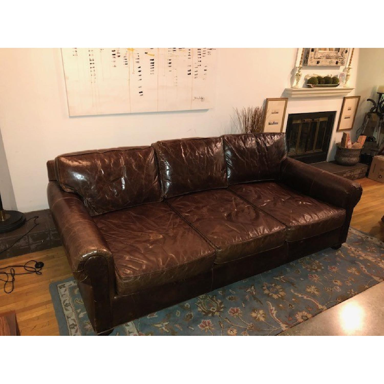 Restoration Hardware Lancaster Leather Sleeper Sofa-2