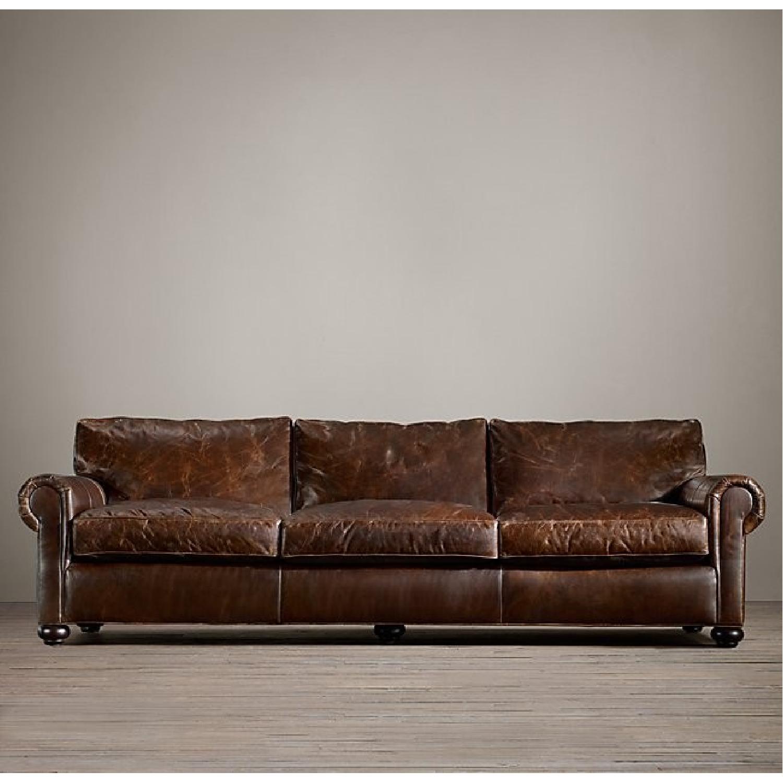 Restoration Hardware Lancaster Leather Sleeper Sofa-4